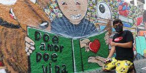 Escola de Santos ganha grafite sobre a doação de órgãos