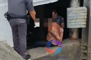 Homem foi recapturado por policiais militares dentro do canal