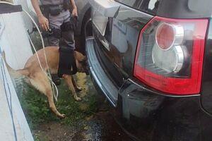 Droga foi apreendida no parachoque do automóvel