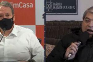 Edson Aparecido durante entrevista a José Luiz Datena, da Rádio Bandeirantes