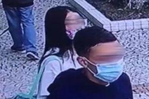 A garota e o comparsa foram captados por câmeras de monitoramento quando agiram na Ponta da Praia nesta segunda-feira (21)