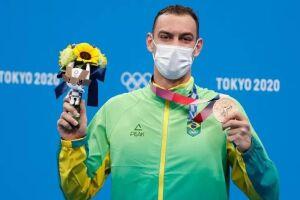 O nadador brasileiro Fernando Scheffer faturou a medalha de bronze na prova dos 200 metros livre nos Jogos Olímpicos de Tóquio