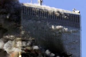 Uma das torres em chamas.