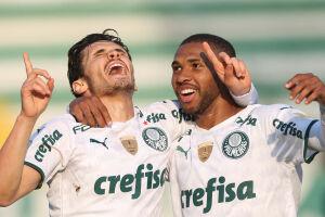 O jogador Raphael Veiga, da SE Palmeiras, comemora seu gol contra a equipe da A Chapecoense F, durante partida válida pela vigésima rodada, do Campeonato Brasileiro, Série A, na Arena Condá