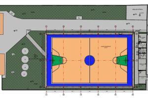 O projeto prevê uma construção de mais de 700m², envolvendo a quadra esportiva, um anexo e área de circulação