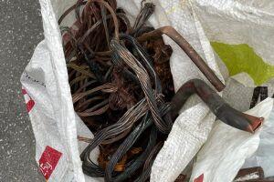 Cem quilos de cobre apreendidos em Santos, após uma série de furtos na cidade