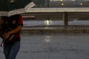 Mulher se protege da chuva e do vento.
