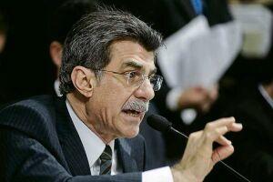 O ministro do Planejamento, Romero Jucá fala sobre o déficit primário para 2016, durante entrevista coletiva