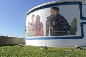 Reservatório de água tratada no bairro Cibratel