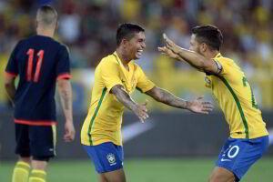Dudu marcou o gol do Brasil no amistoso