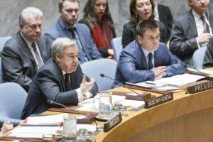 António Guterres discursa no Conselho de Segurança das Nações Unidas sobre conflitos na Europa