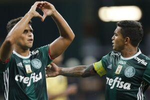 Jean comemora gol durante a partida entre Palmeiras x São Bernardo