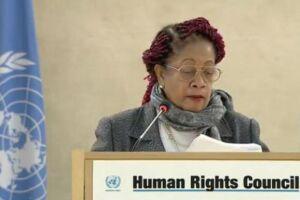 A ministra Luislinda Valois, durante discurso na 34ª sessão do Conselho de Direitos Humanos das Nações Unidas, em Genebra, na Suíça