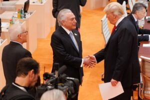 O presidente Michel Temer se encontra com Donald Trump, durante a cúpula do G20