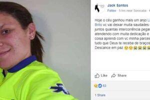 Na rede social, família informa o falecimento de Liliane, 36 anos.