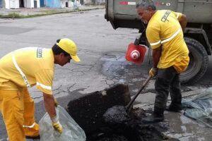 Vicente de Carvalho também recebeu o tapa buracos