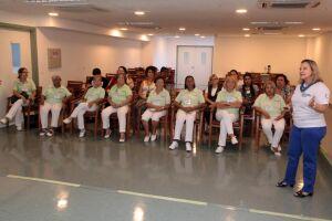As participantes receberam instruções sobre as competências necessárias para trabalhar no ambiente hospitalar