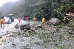 Segundo o DER (Departamento de Estradas de Rodagem), pedras e lama deslizaram no km 87 da rodovia, na pista sentido Mogi das Cruzes, após a forte chuva que atingiu a região