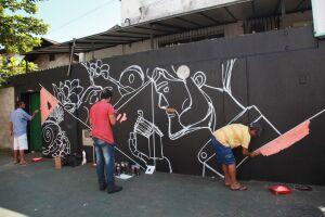 A oficina foi conduzida pelo artista Carlos Roberto da Silva, conhecido como Catts