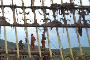 O distrito de Bento Rodrigues, em Mariana (MG), atingido pelo rompimento de duas barragens de rejeitos da mineradora Samarco