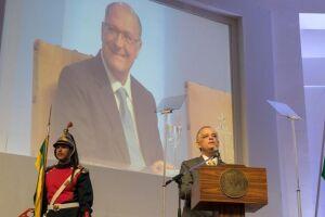 Márcio França durante discurso na Cerimônia de Transmissão do Cargo de Governador do Estado de São Paulo