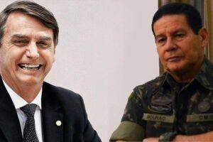 Jair Bolsonaro ao lado do seu vice, o general Mourão.