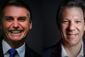 Segundo previsão das pesquisas, Bolsonaro e Haddad chegaram ao 2º turno.