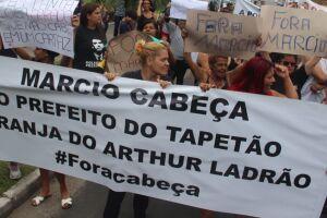 Protesto de hoje (02) contra a decisão do STF de Márcio Cabeça assumir a Prefeitura.