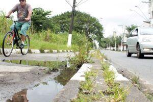 Buracos, mato alto e água empoçada fazem parte do trajeto de quem precisa passar por ali.
