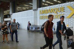 Um dos saguões do aeroporto de Guarulhos.