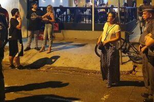 Policiais militares durante ação da Prefeitura de Santos