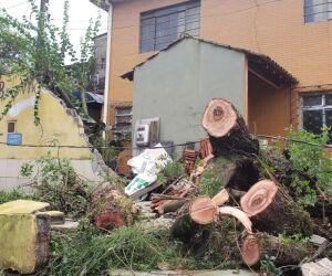 Ventos ultrapassaram a marca de 120 km/h e assustaram moradores de Santos durante a noite de segunda-feira (17)