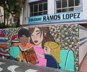 Escola em Santos ganha grafite sobre a doação de órgãos