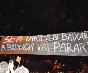 Manifestação contra o aumento do transporte público em Santos