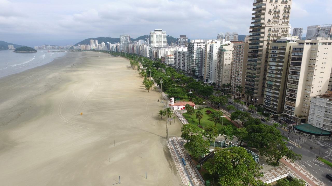 Drone do DL faz imagens do domingo de lockdown em Santos