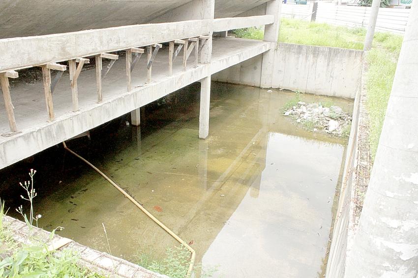 Em tempos de preocupação com o aedes aegypti, uma verdadeira piscina de água parada coloca em risco a saúde dos moradores