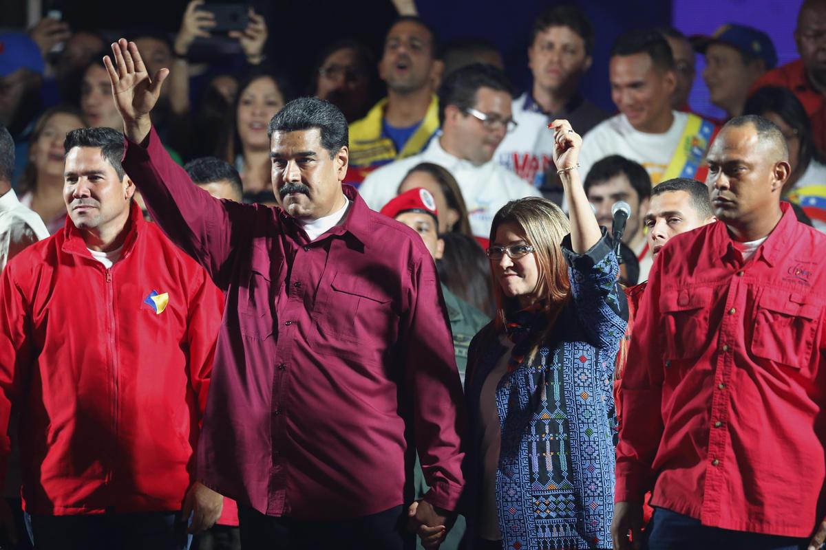 Nicolás Maduro e sua mulher Cilia Flores