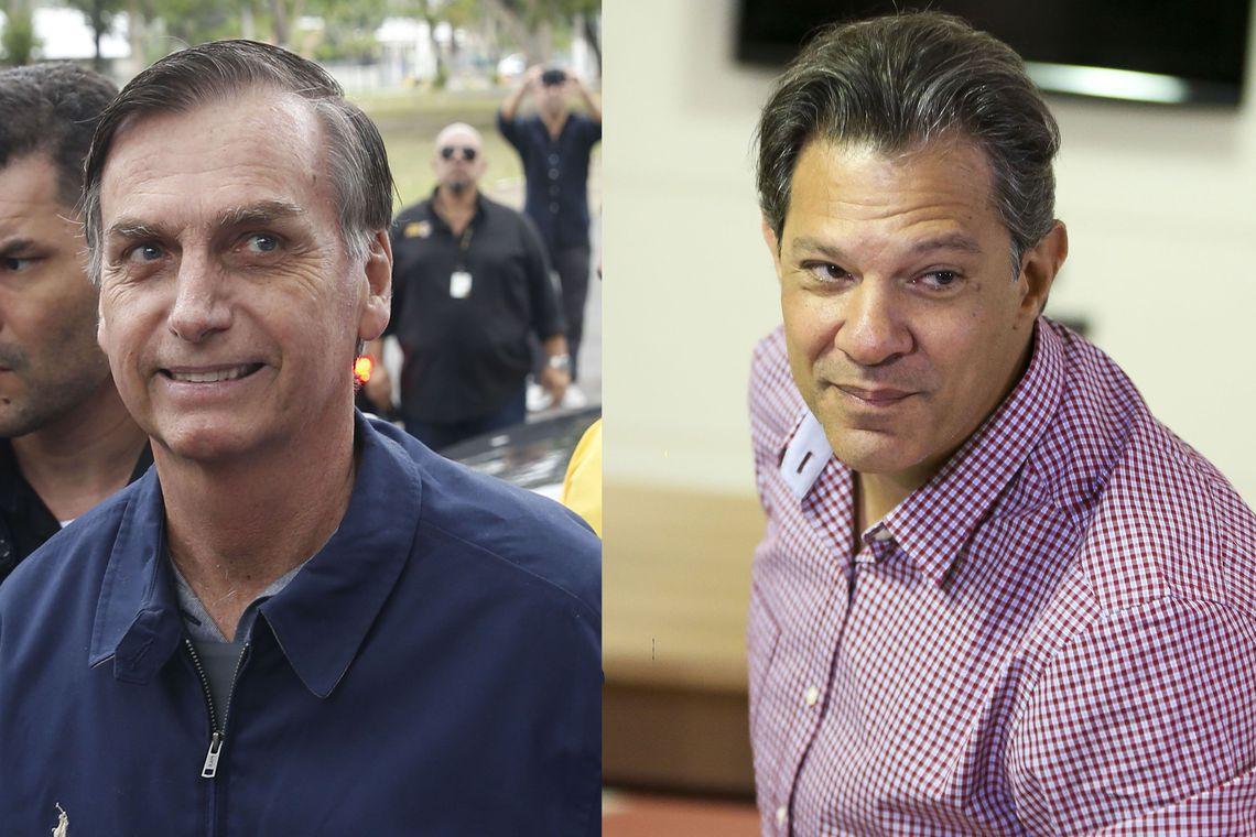 No primeiro turno, Bolsonaro teve 46% dos votos válidos e Haddad, 29%