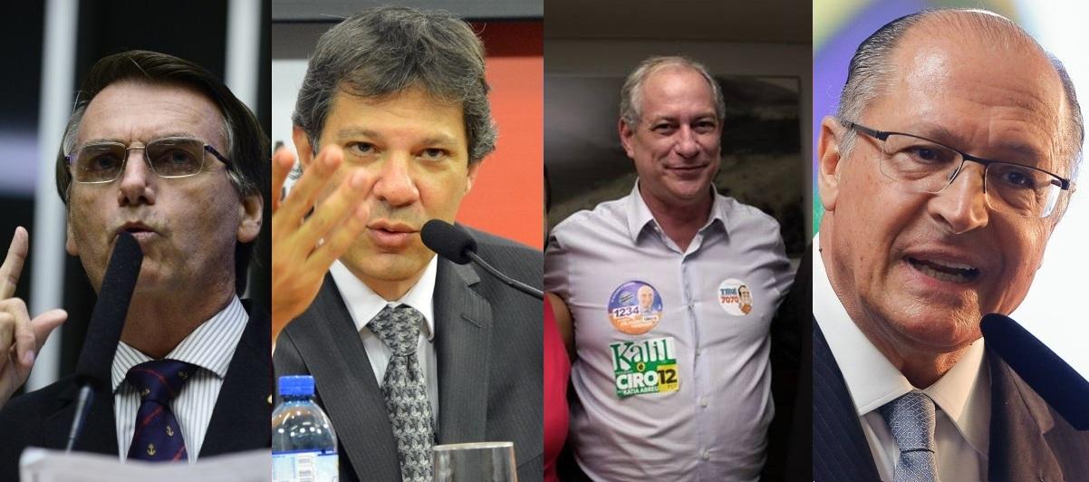Resultado de imagem para Ibope para presidente, votos válidos: Bolsonaro, 41%; Haddad, 25%; Ciro, 13%; Alckmin, 8%
