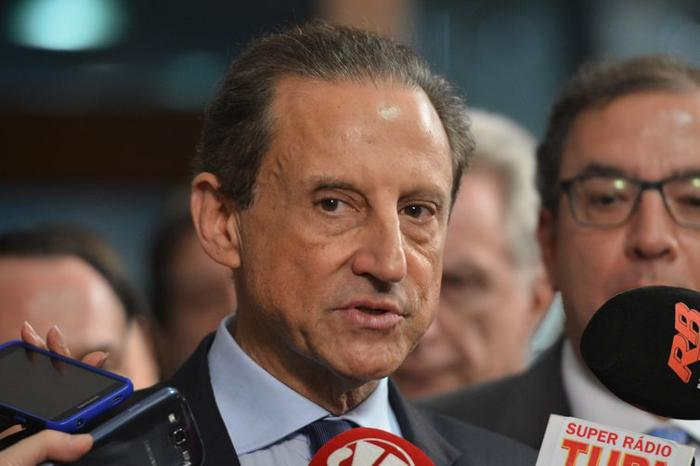 Skaf anunciou o apoio em vídeo gravado ao lado do presidente do PSL paulista, Major Olímpio